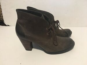 Details about CLARKS INDIGO WATER ROW WOMENS BROWN LEATHER ANKLE BOOTIE BOOTS SZ10