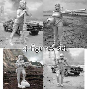1-35-Resin-Desert-Wasteland-Female-4-Soldiers-Unpainted-Unassembled-BL559