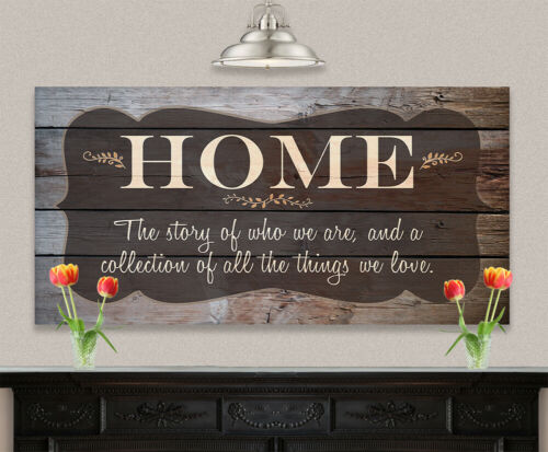 Large Canvas Home The Story Of Who We Are - Stretched Not Printed on Wood