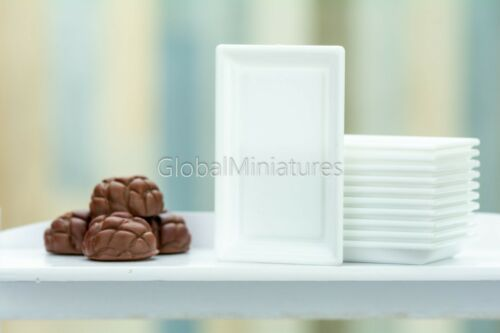 Dollhouse Miniatures White Plastic Rectangle Bakery and Pastry Serving Tray
