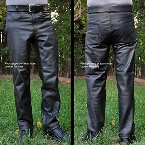 Motorcycle Riding Pants >> Heavy Leather Motorcycle Riding Pants All Sizes 250 Value Ebay