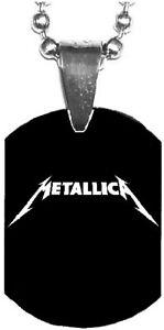 METALLICA White Logo Mini Dog Tag Necklace Metal Balls Chain Rock Merchandise