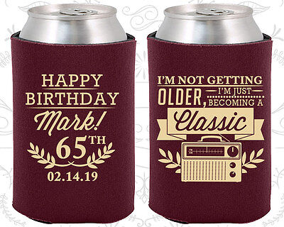 Personalized 65th Birthday Party Favor Koozies 20056 Vintage Gifts