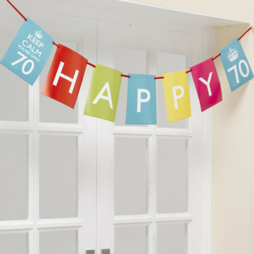 Keep Calm Party Birthday Bunting Age 70 70th Birthday Flag Banner FREE P/&P