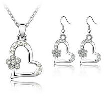 Hot Sale Women Jewelry Set Crystal Plated Heart Pendant Necklace Earrings white