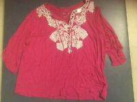 Inc International Concepts Woman's Plus Size 2x Hot Pink Peasant Shirt Brand