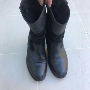 Womens Black Levi Real Leather \u0026 Suede