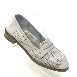 Lucky Brand Womens Caylon Gray Perforated Suede Penny ...