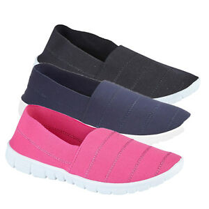 WOMENS-LADIES-SLIP-ON-COMFORT-TRAINERS-BEACH-SUMMER-PUMPS-SHOES-SIZE-3-4-5-6-7-8