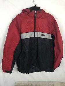 emoción Conmemorativo coser  Vintage Abrigo Chaqueta Con Capucha Nike Forro Polar Rojo gris logotipo  cremallera completa para hombre Talla L | eBay