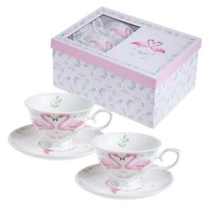 Animal-Bird-Flamingo-Cafe-Theiere-The-pour-un-ou-2-Tasses-2-soucoupes
