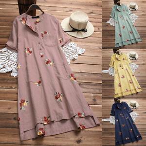 Women-Linen-Fashion-Irregular-Floral-Embroidered-Pockets-Short-Sleeve-Midi-Dress
