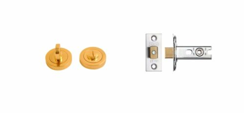 Polished Chrome Bathroom Thumb Turn Release 64mm Deadbolt Lock Toilet Door Set