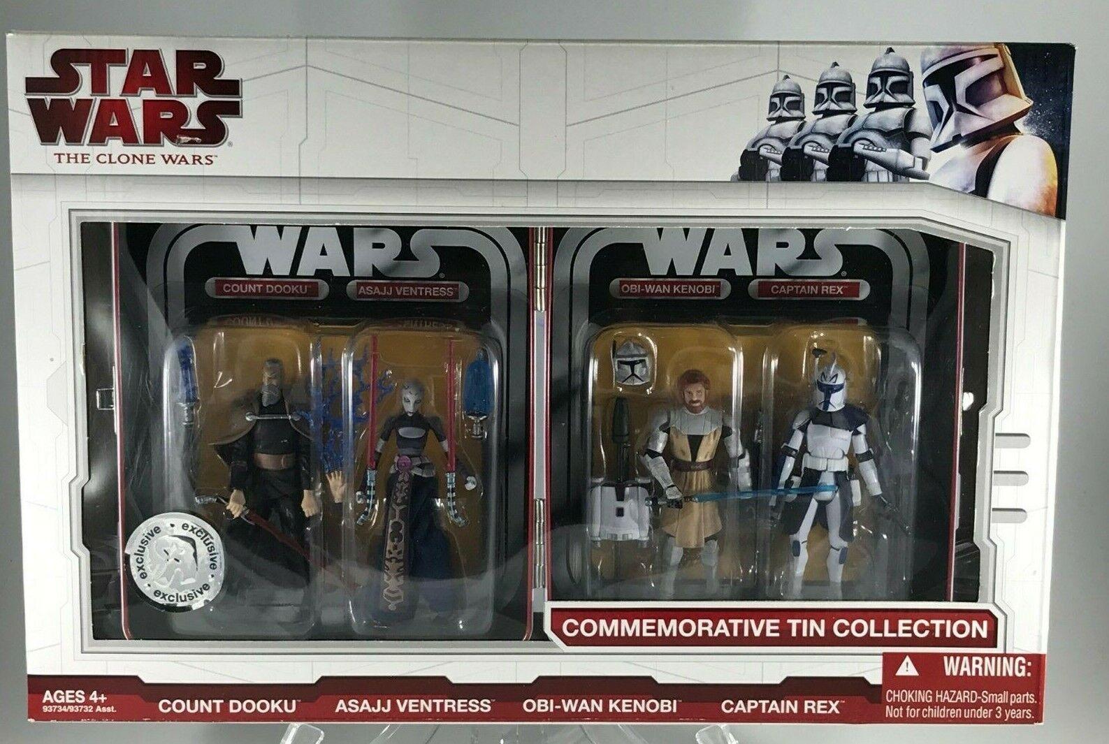Estrella Wars Clone Wars TRU Exclusivo De Estaño Colección Set Obi-Wan Rex Dooku Ventress