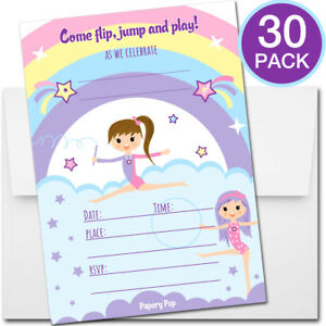 30 gymnastics birthday invitations with envelopes kid dancing image is loading 30 gymnastics birthday invitations with envelopes kid dancing filmwisefo