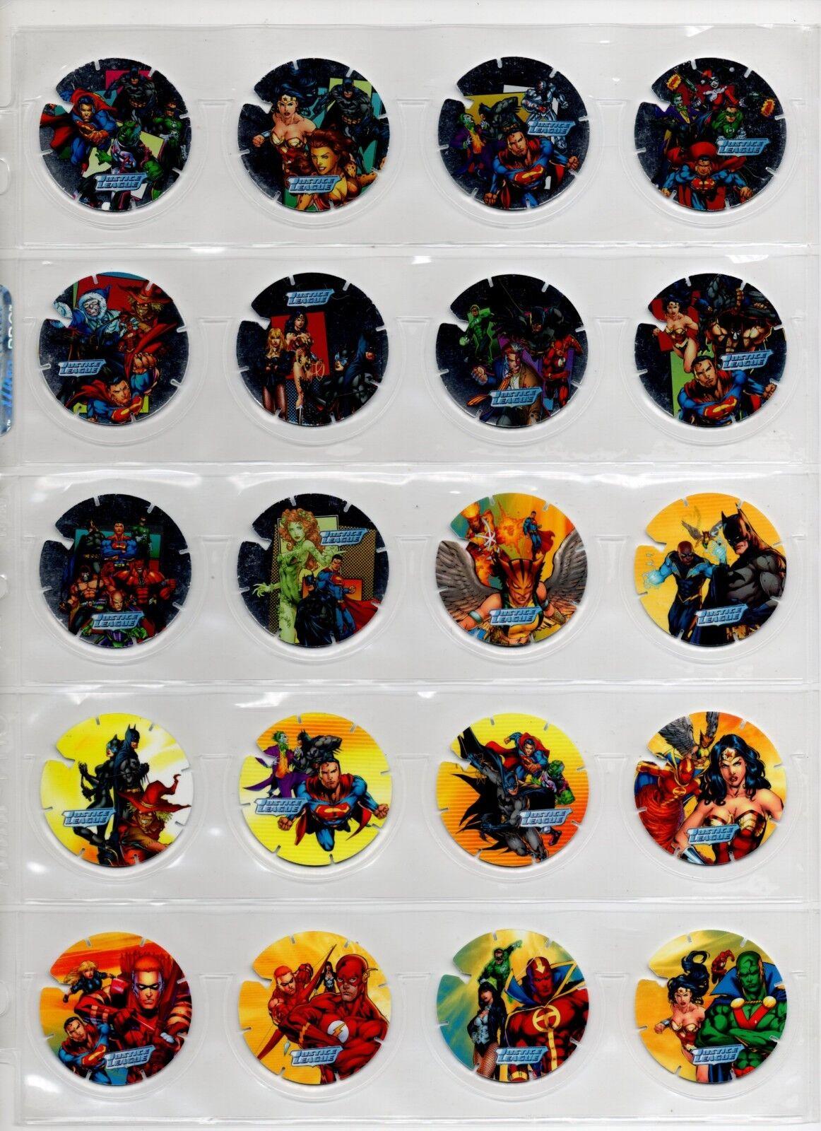 Justice League Toys Set Superman Batman Flash collection complète 100 tazos Pogs