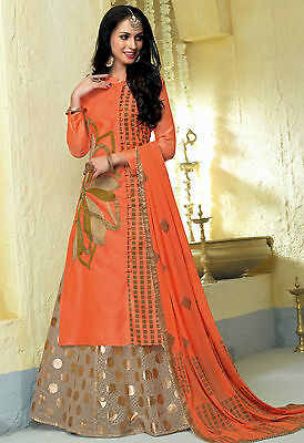Shanaya Peach Straight Silk Kurti / Kurta with Dupatta