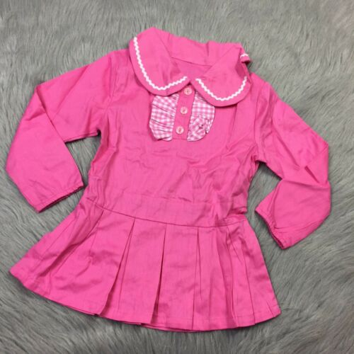 Vintage 1960s Toddler Girls Pink Drop Waist Ruffle Gingham Pleated Mod Dress