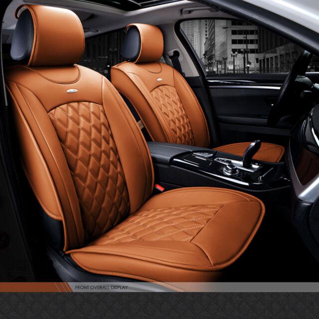 Luxury Brown Pu Leather Car Full Set Seat Cover Fashionable Cushion Pad Uk