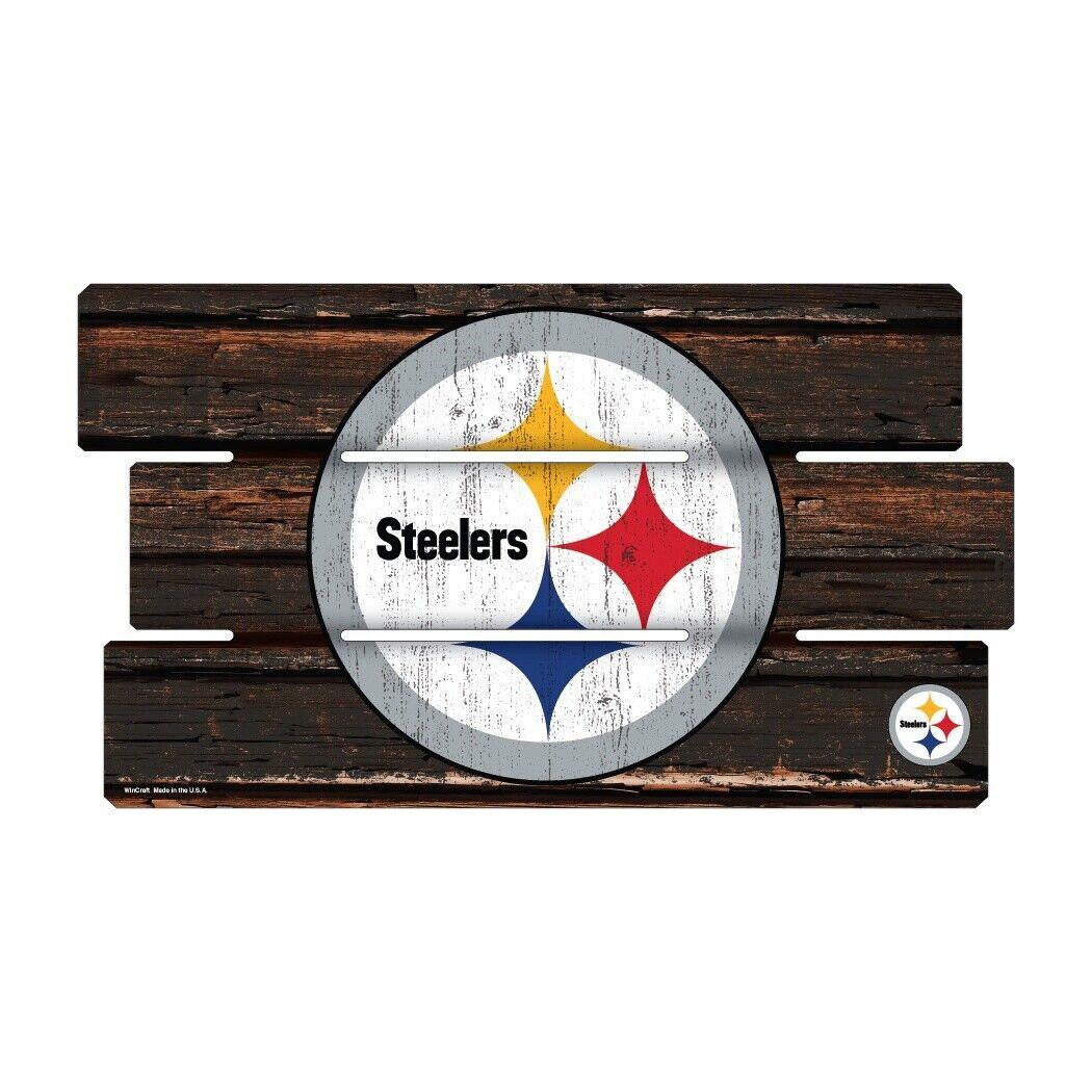 Pittsburgh Steelers Defensa Letrero de Madera XL 63 cm NFL Fútbol, Fence Símbolo
