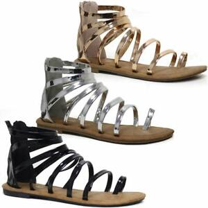 Ladies-Gladiator-Sandals-New-Womens-Flat-Strappy-Fancy-Summer-Beach-Shoes-Size