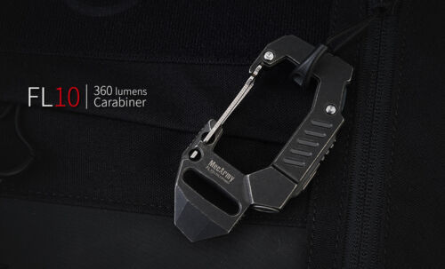 Titanium echargeable EDC carabiner 360 lumens flashlight FL10 Mecarmy black