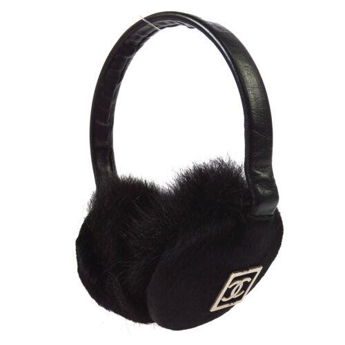 CHANEL CC Logos Ear Muffs Ear Warmers Black Fur Ac