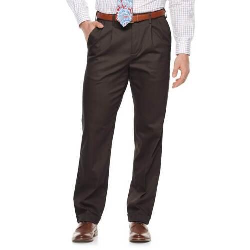 Men/'s Croft /& Barrow Classic-Fit Pleated /& Cuffed No-Iron Stretch Pants New