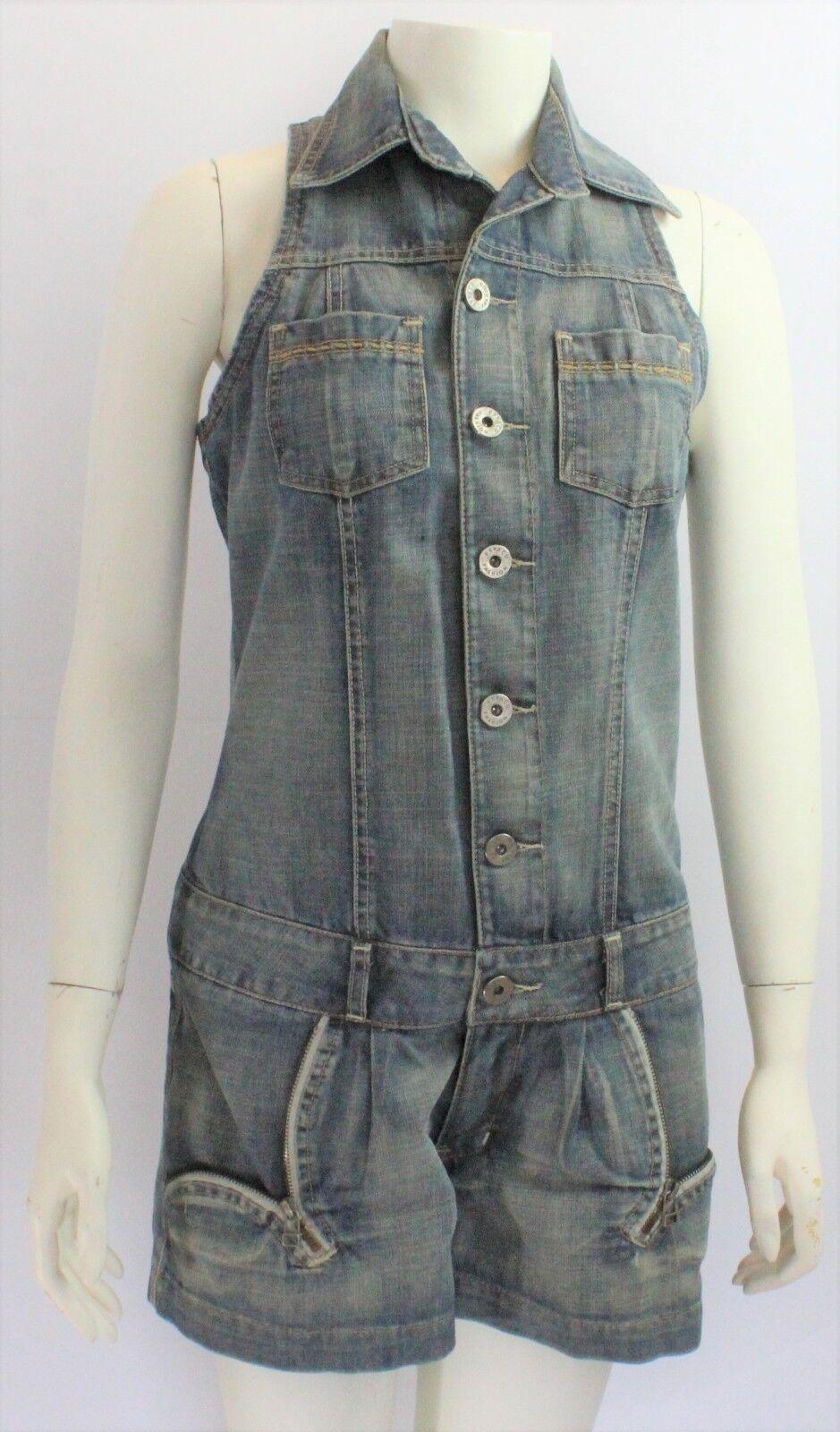 Espaço Fashion Womens Denim Sleeves Button up Romper Size 42 US 12