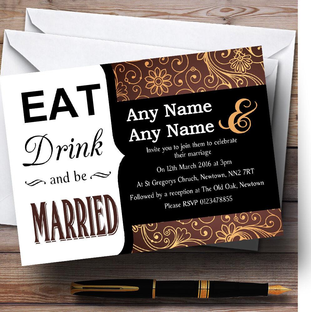 Eat Drink marron et orange vintage personnalisées mariage invitations personnalisées vintage e63dc4