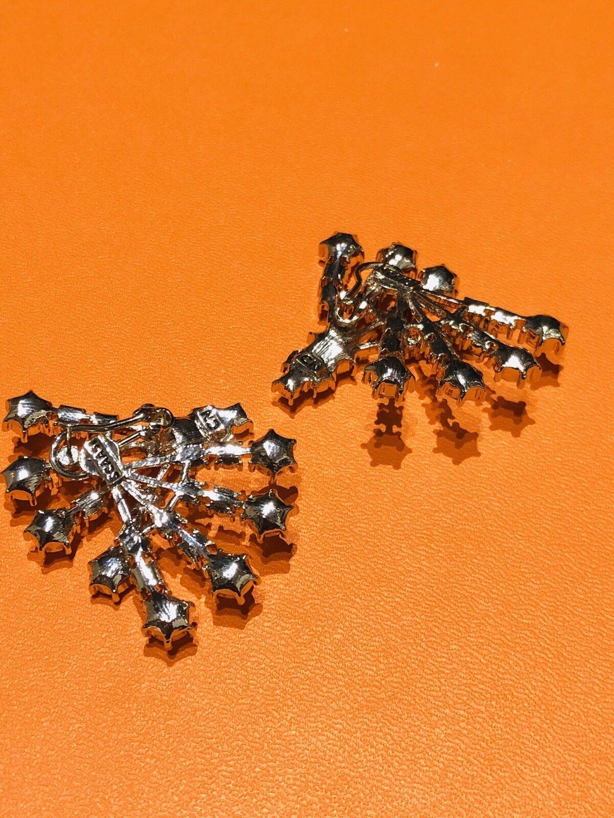 Arnold Scaasi Silver Tone Crystal Fan Earrings - image 3