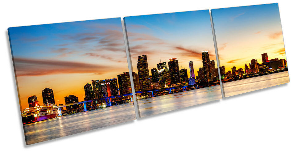 Sunset over Miami Stadt Skyline TREBLE CANVAS Wand Kunst Box Frame Bild