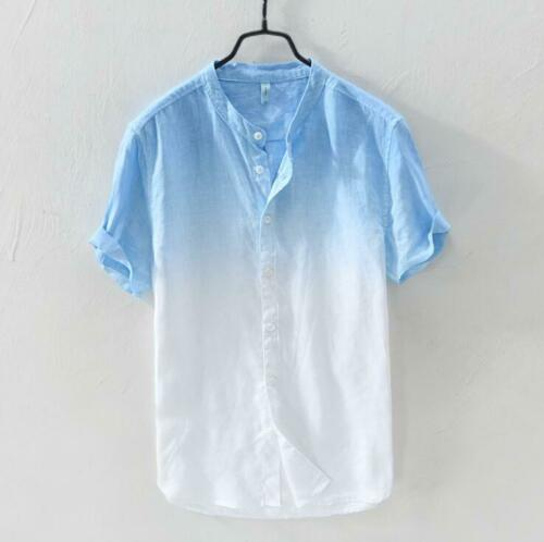 Mens Chic Linen Stand Collar Short Sleeves Gradient Color Casual Shirt Top 1767