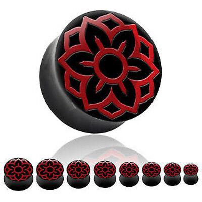 "PAIR Horn Plugs w/Red Lotus Design Inlay 0g,00g,1/2"",9/16"", 5/8"", 3/4"", 7/8"", 1"""