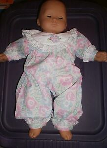 BIB fits Bitty Baby /& Bitty Baby Twin Smiling Sun Flower PINK FOOTED ROMPER