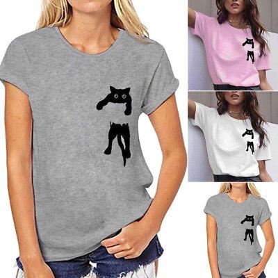 Women Sweater Cat Printing Shirt Long Sleeve Sweatshirt Casual Loose Tops Blouses Shirt
