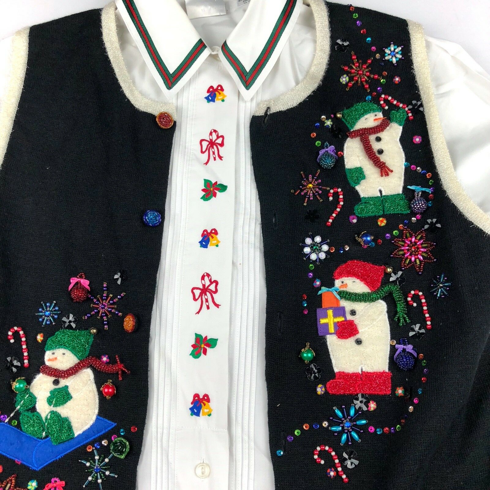 Marisa Christina Christmas Snowman Womens S Vest Laura Gayle 12 Button Down