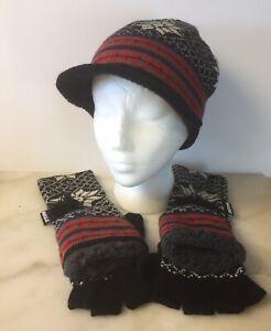 Muk-Luks-Hat-Gloves-Set-Women-039-s-Snowflake-Fingerless-Flip-Cover-Visor-Beanie