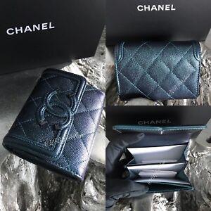316c7a4cdfc093 NWT CHANEL Turquoise Caviar Flap Card Holder Case 2018 18B Filigree ...