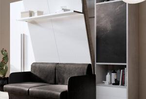 Mobile letto a scomparsa leonardo 160 apertura verticale for Divano con mobile incorporato