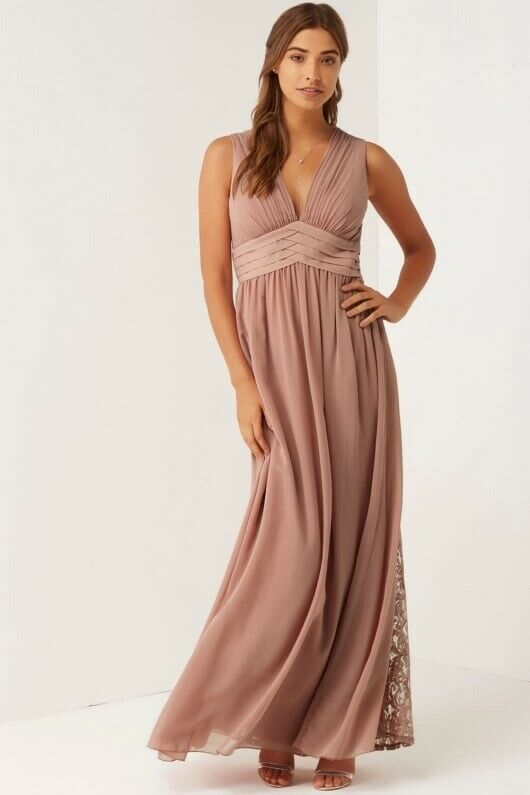 Little Mistress Apricot Bridesmaid Prom Maxi Dress