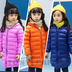 abcbae4c3 Details about Kids Girls Duck Down Puffer Jacket Ultralight Hooded Long  Parka Coat Outerwear