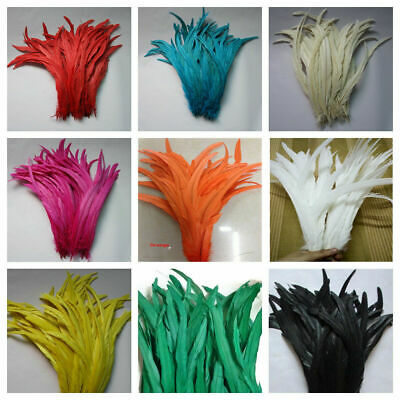 40 Pcs ROOSTER COQUE Feathers 6-10 Inches Costume//Halloween Black Iridescent