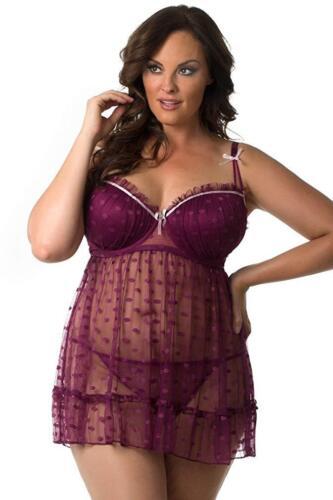 Plus Size Women Lace Sexy-Lingerie Nightwear Babydoll Sleepwear Dots Dress US