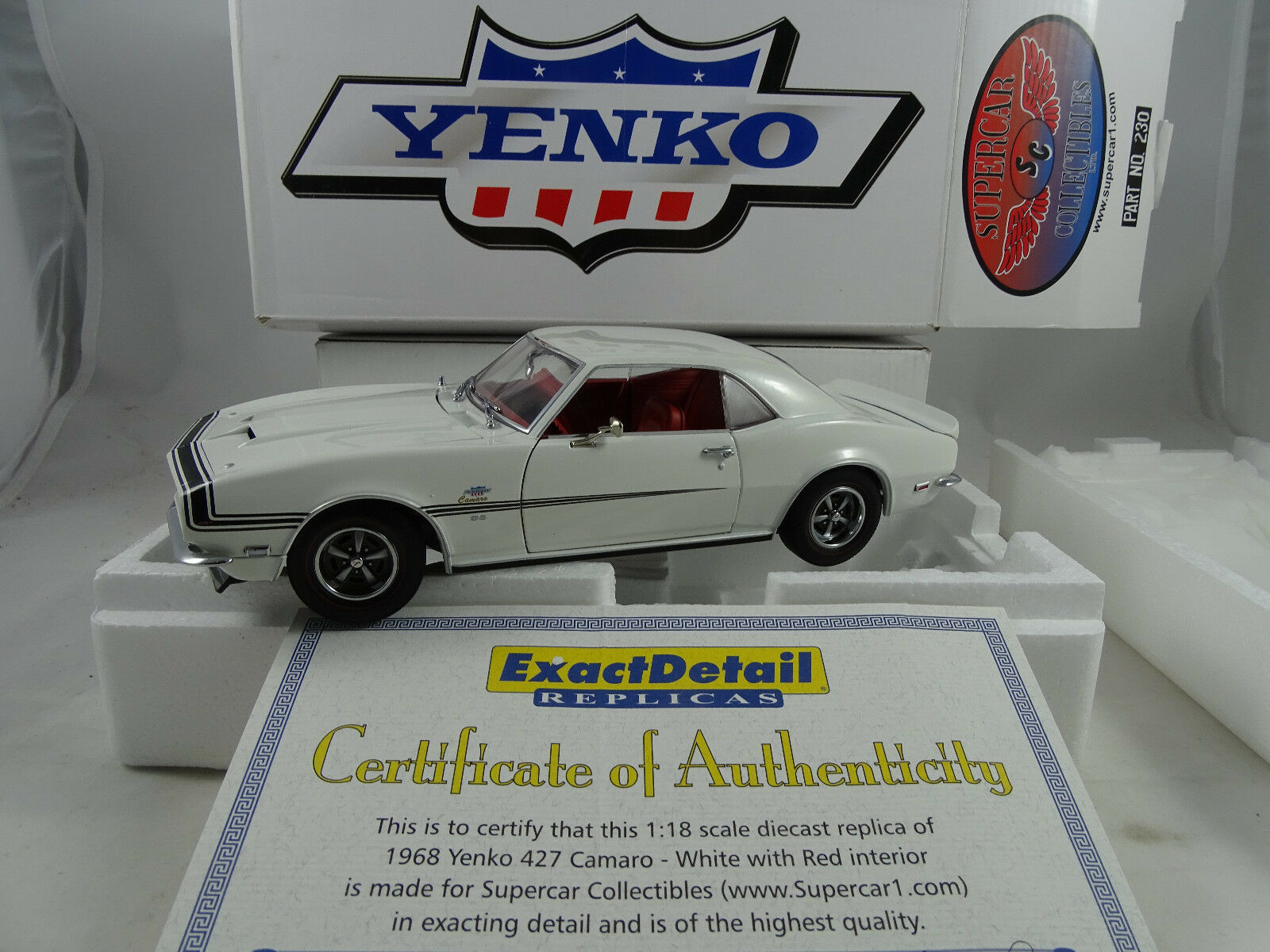 1 18 exact detail Supercar Collect.  230 1968 YENKO CAMARO SS 427 White Rarity