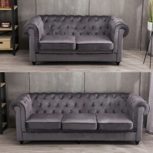 Image Is Loading Velvet Chesterfield Sofa 2 3 Seater Suite Roll