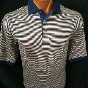 Jos A Bank L Blue Stripe Leadbetter Golf S/S Pink Gray Blue Striped Polo Shirt