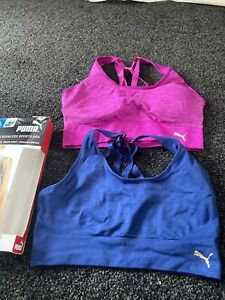 Ladies-PUMA-Sports-Bra-Twin-2-Pack-Seamless-Pink-Blue-L-New
