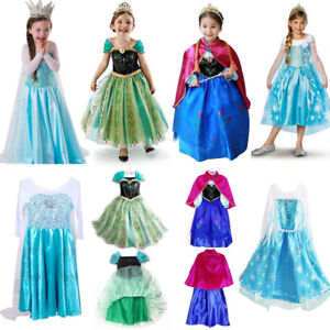 Kids-Girs-Frozen-Elsa-Princess-Fancy-Dress-Cosplay-Anna-Party-Costume-Gift-Lot