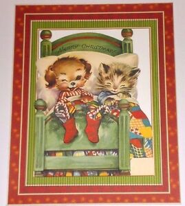 Handmade greeting card 3d christmas vintage style with a dog cat image is loading handmade greeting card 3d christmas vintage style with m4hsunfo